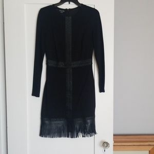Black long sleev, short evening dress